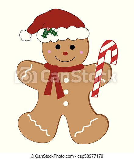 Gingerbread Man with Candy Cane - csp53377179