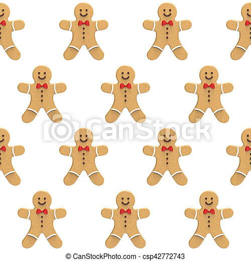 Gingerbread mans on a white background - csp42772743