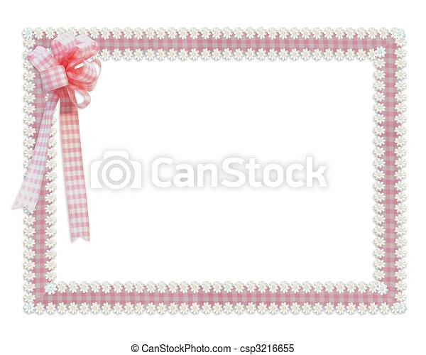 Gingham and daisies ribbons pink border - csp3216655