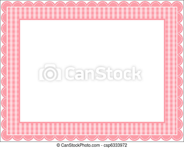Gingham frame. Gingham patterned frame with scalloped border.