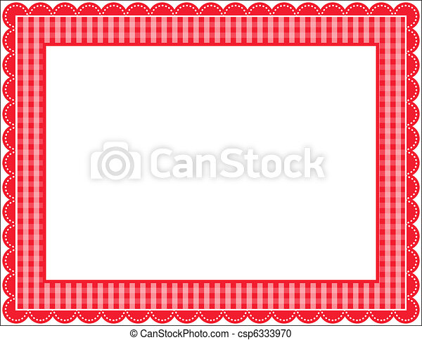 Gingham Frame Patterned With Scalloped Border Vector