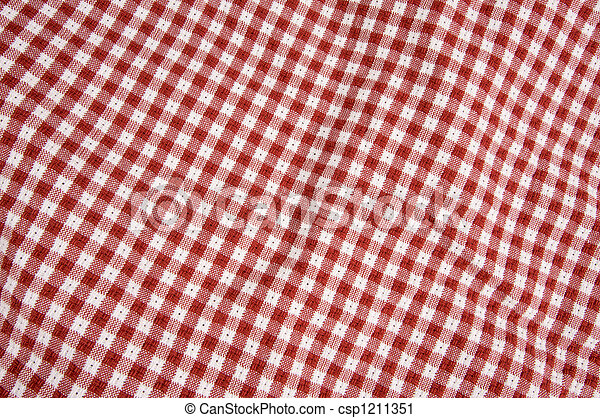 Gingham Red & White cloth - csp1211351