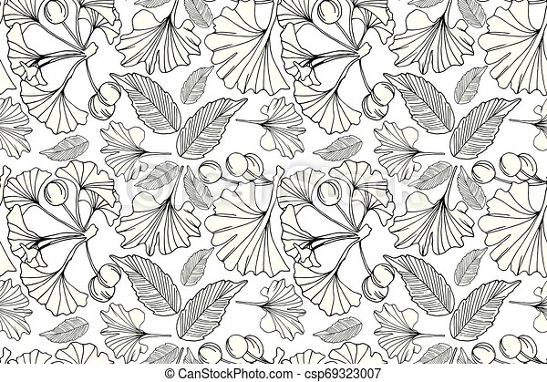 Ginkgo Leaves Pattern Background Vector Hand Drawn Doodle Seamless Ginkgo Leaves Pattern Line Natural Wrapping Paper Design