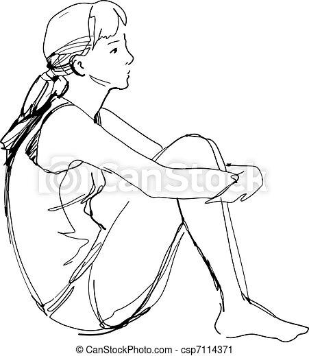 Ginocchia schizzo lei seduta abbracciare ragazza for Sedute dwg