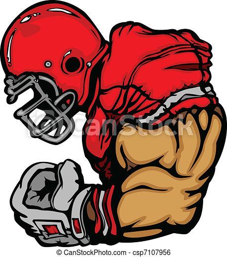 giocatore, football, cartone animato, casco - csp7107956