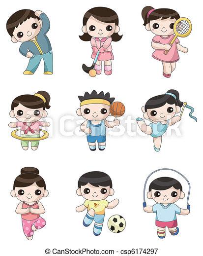 giocatore, sport, cartone animato, icona - csp6174297