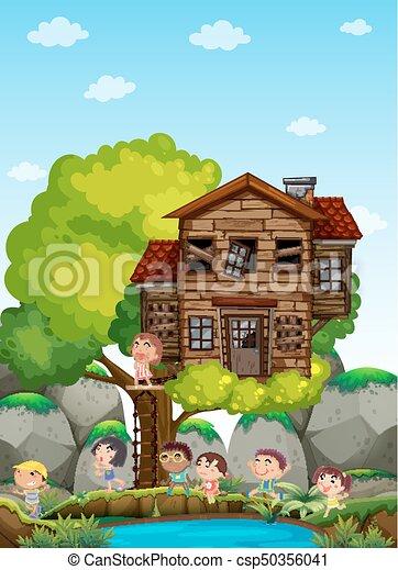 gioco, bambini, treehouse - csp50356041