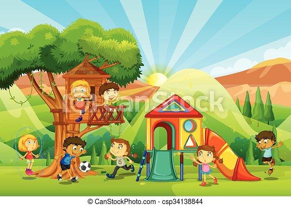 gioco, campo di gioco, bambini - csp34138844