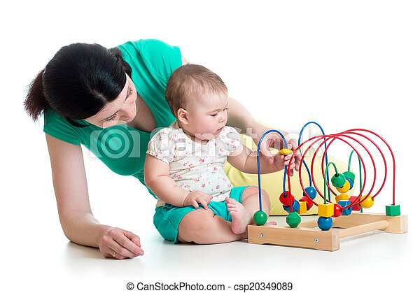 gioco, giocattolo, colorare, bambino, educativo, madre - csp20349089