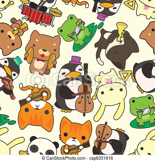 gioco, modello, seamless, musica, animale, cartone animato - csp6331616
