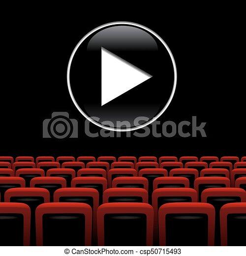 Teatro Le Sedie.Gioco Teatro Sedie Film Simbolo Vettore Fondo Rosso