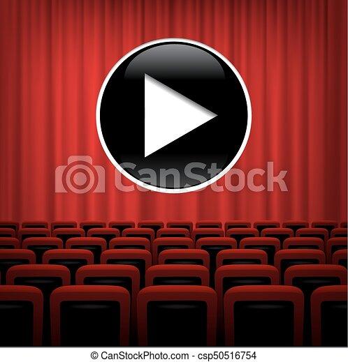 Teatro Le Sedie.Gioco Teatro Sedie Simbolo Vettore Sfondo Rosso Tenda