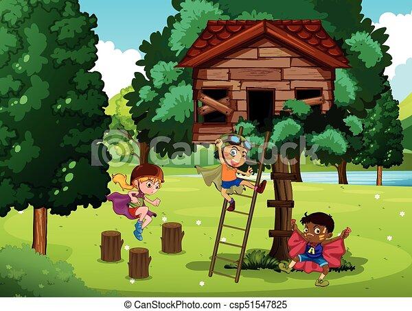 gioco, treehouse, bambini - csp51547825