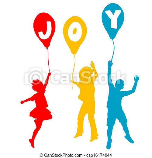 gioia, messaggio, palloni, bambini, presa a terra - csp16174044