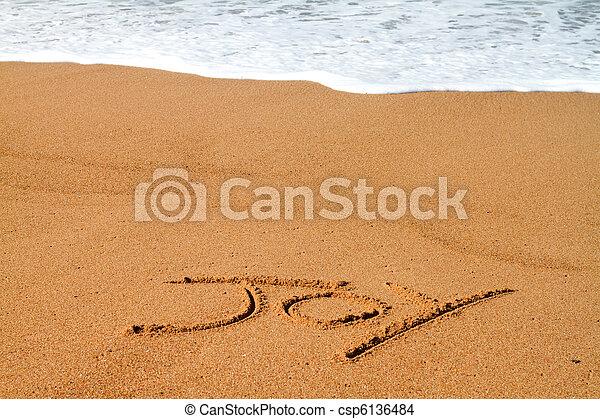 gioia, scritto, spiaggia - csp6136484