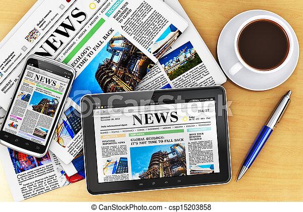 giornali, computer, tavoletta, smartphone - csp15203858
