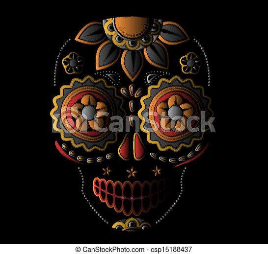 giorno, morto, cranio, zucchero - csp15188437