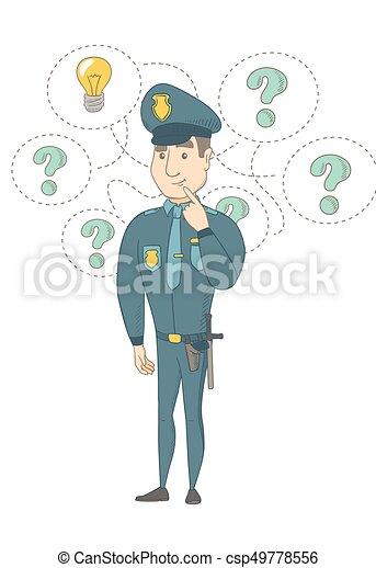 giovane, idea., detenere, caucasico, poliziotto - csp49778556