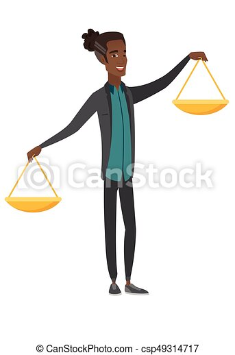 giovane, presa a terra, africano, uomo affari, scale., equilibrio - csp49314717