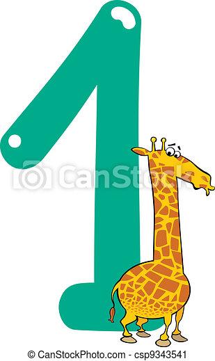 Cartone animato giraffa numero illustrazione uno - Cartone animato giraffe immagini ...