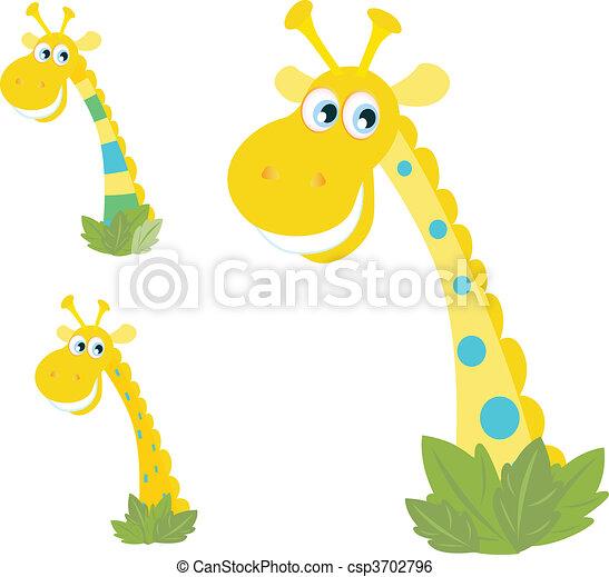 giraffa, teste, tre, giallo, isolato - csp3702796