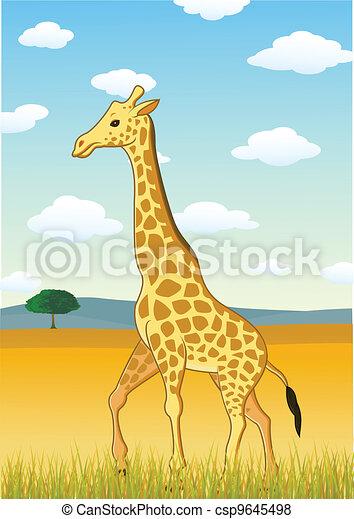 Giraffe against savannah landscape - csp9645498