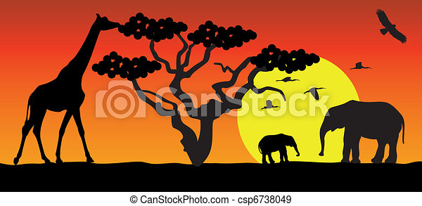 giraffe and elephants in africa - csp6738049