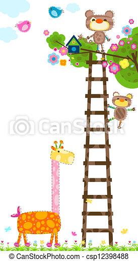 giraffe and tree - csp12398488