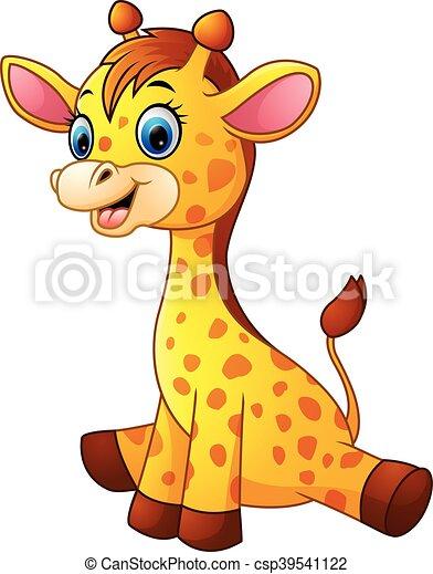 Giraffe bambino cartone animato seduta vettore seduta - Cartone animato giraffe immagini ...