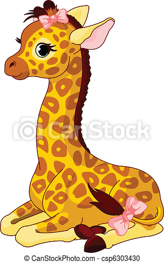 Giraffe Calf with bow - csp6303430