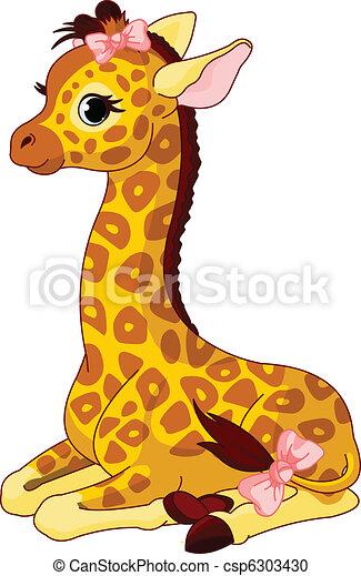 Giraffe Calf with bow - csp6303430