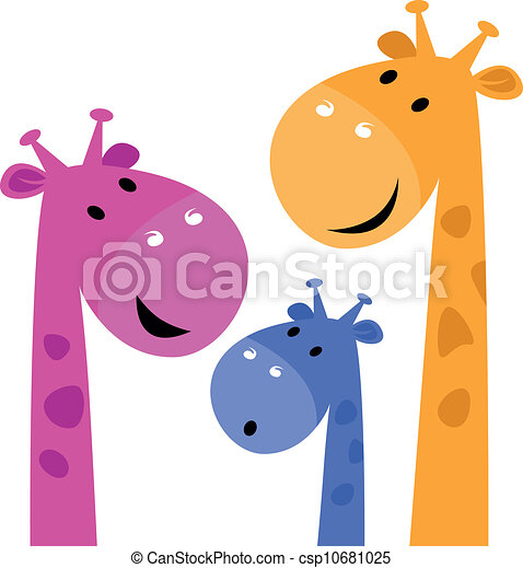 Giraffe colorful family isolated on white - csp10681025