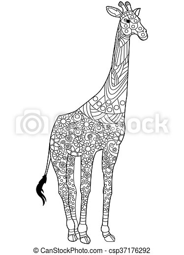 Giraffe coloring book vector for adults. Giraffe coloring book for ...
