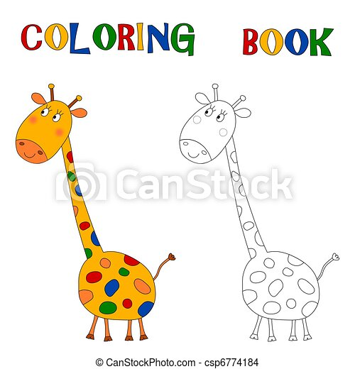 Giraffe, färbung, -, buch. Grafik, bunte, kinder, abbildung ...