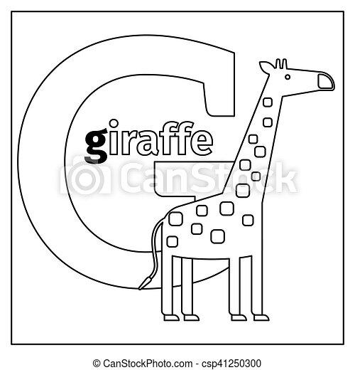 Giraffe, färbung, buchstabe g, seite. Färbung, tiere, g, kinder ...