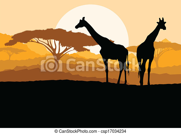 Giraffe family silhouettes in Africa wild nature mountain landscape background illustration vector - csp17034234
