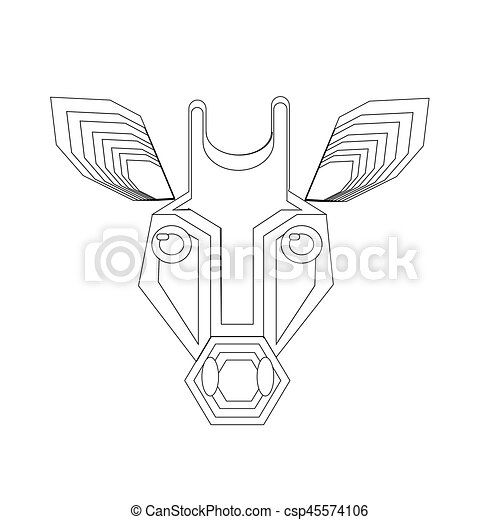 giraffe head vector black and white - csp45574106
