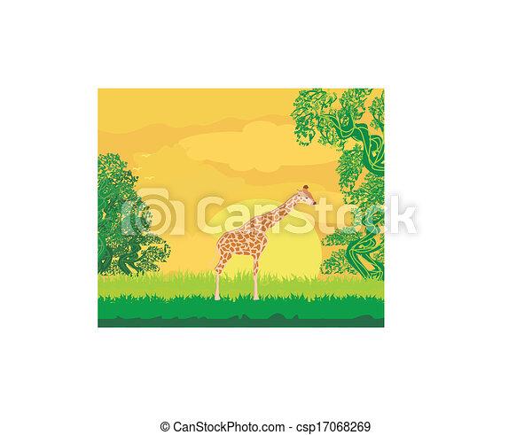 Giraffe in jungle landscape  - csp17068269