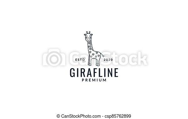 giraffe line smile cute cartoon logo vector illustration - csp85762899