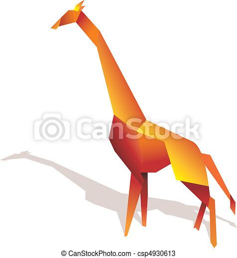Giraffe Origami Illustration One Silhouette On