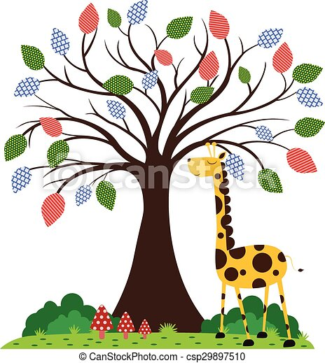Giraffe under tree - csp29897510