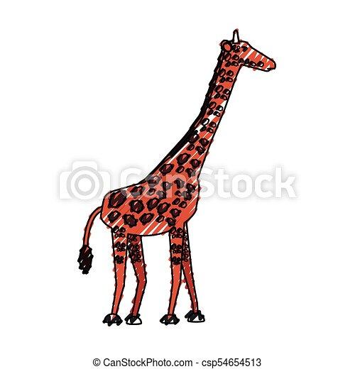 giraffe vector illustration colored giraffe doodle over vector rh canstockphoto com giraffe vector free giraffe vector art