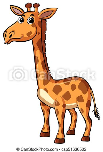 Giraffe with happy face on white background - csp51636502