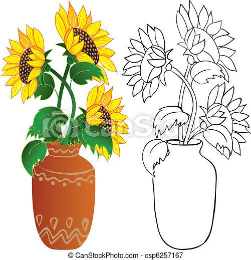 Famoso Girasole, vaso. Colorare, illustrazioni, vase., contorno  QN83