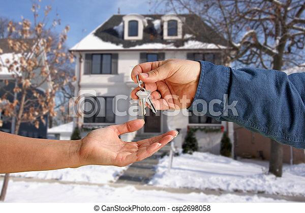 giren, stämm, hus, över, färsk, främre del, hem - csp2698058