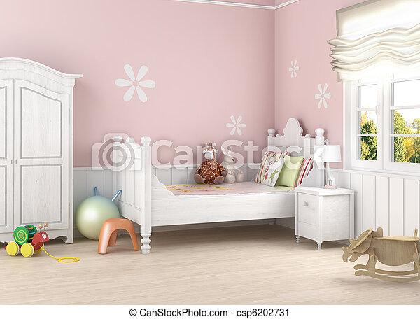 El cuarto de la chica rosada - csp6202731