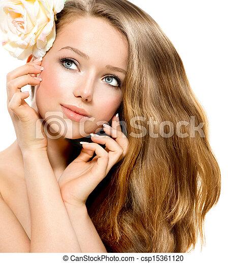 girl., 美しさ, モデル, 花, バラ, 美しい - csp15361120