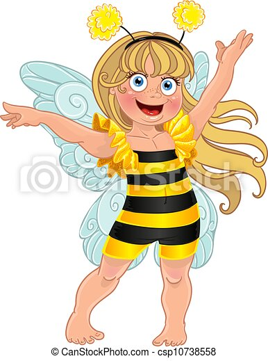 girl, abeille, complet, carnaval, petit - csp10738558