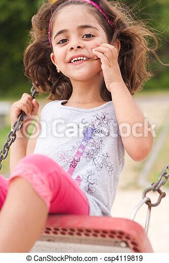 girl, agréable, parc, balançoire - csp4119819