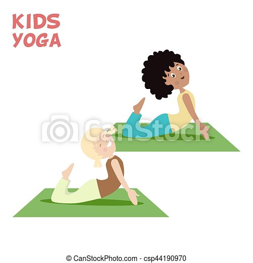 Girl And Boy Are Engaged In A Kids Yoga Sports Or Exercise Cartoon Flat Character Isolated White Background